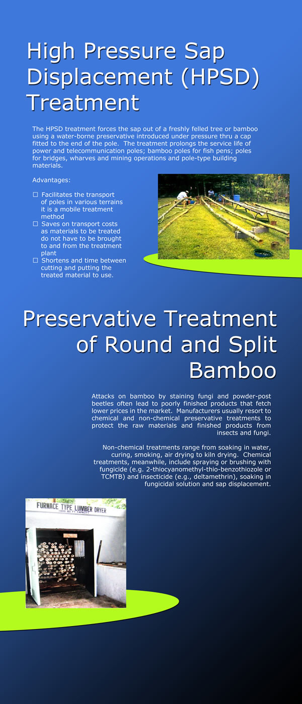 Heat Pressure Sap Displacement (HPSD) Treatment and Preservative Treatment of Round and Split Bamboo.